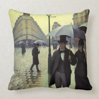 Paris Street, Rainy Day by Gustave Caillebotte throwpillow