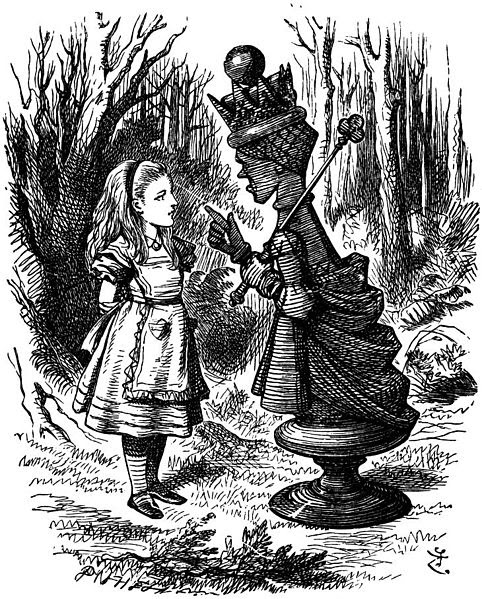 "Illustration by John Tenniel of the Red Queen lecturing Alice for Lewis Carroll's ""Through The Looking Glass"""