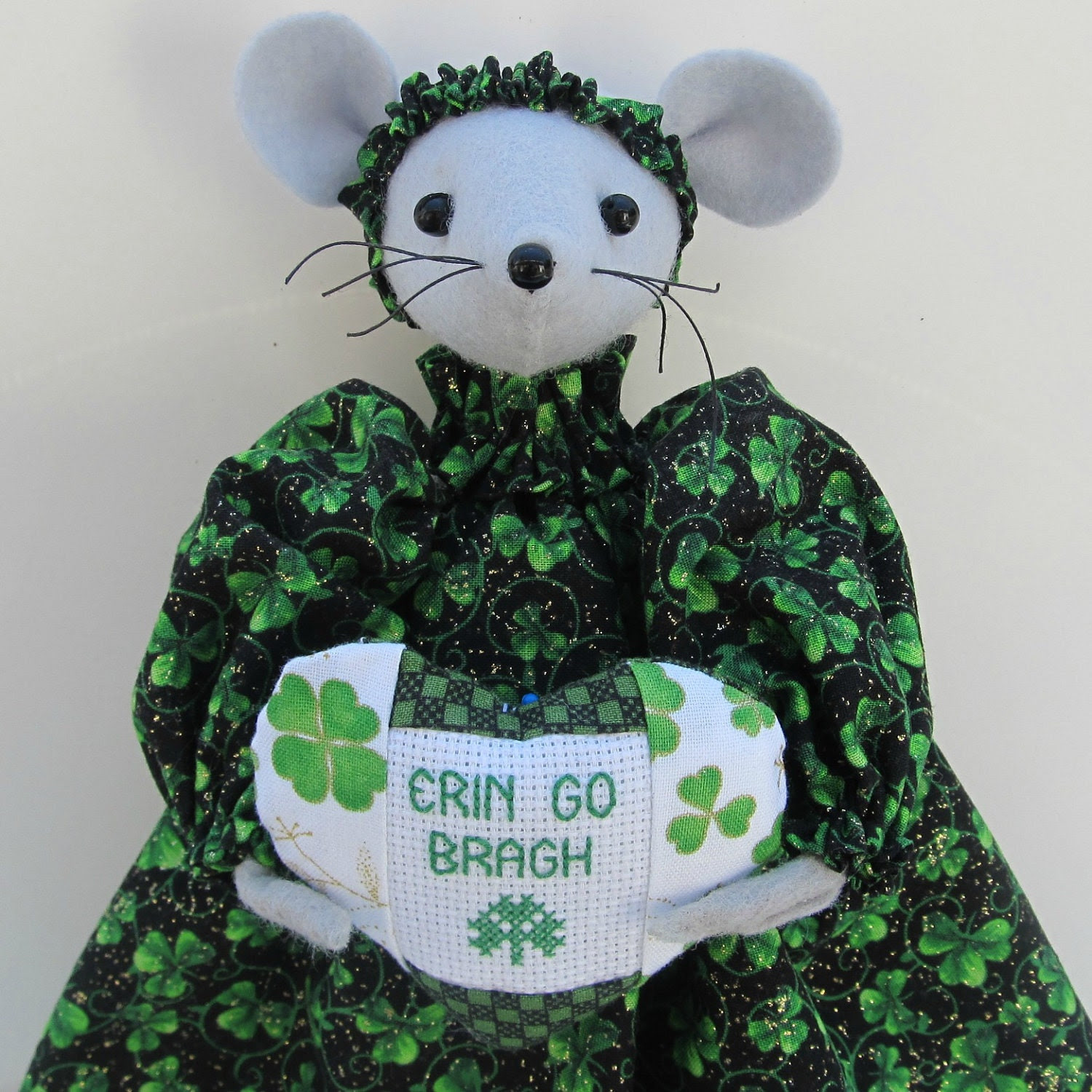 """St Patrick's Mouse Felt 11"""" Holding Cross Stitch Heart handmade by Warmth"""