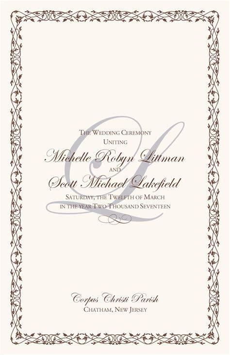 Celtic Border Wedding Programs Wedding Program Wording