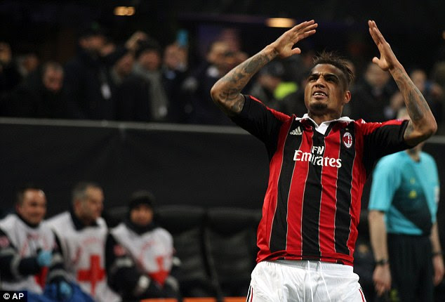 Ecstasy: Boateng celebrates after firing past Victor Valdes and in to the corner