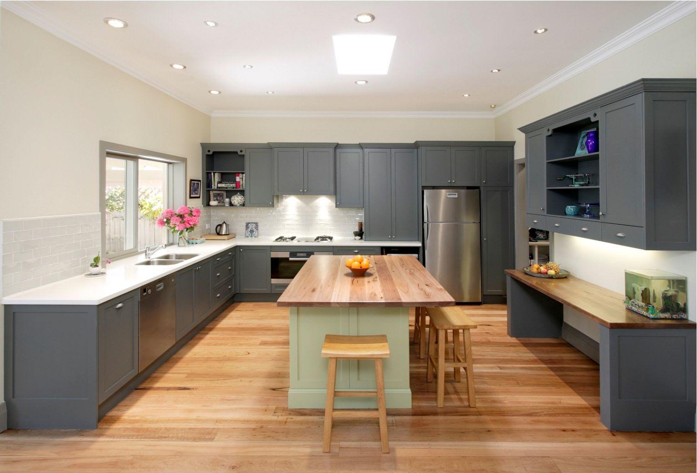Home Architec Ideas Grey Wood Floor Kitchen Design