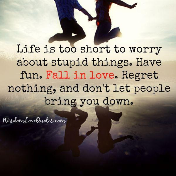 Life Is Too Short To Worry About Stupid Things Wisdom Love Quotes