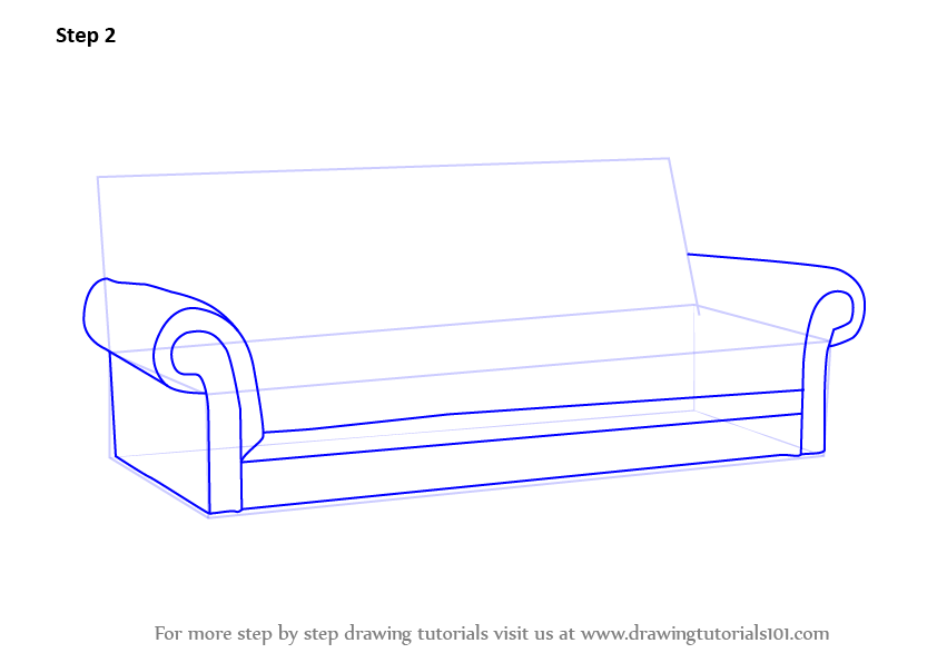 Learn How to Draw Sofa (Furniture) Step by Step : Drawing ...