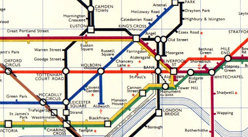 Detail from Harold Hutchinson's hated 1963 Tube Map
