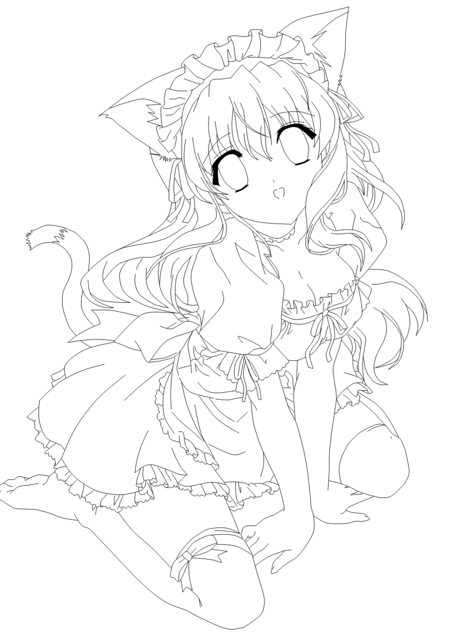 Cute Anime Cat Girl Coloring Pages Anime Wallpapers