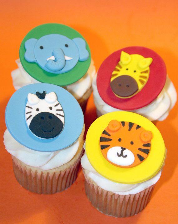 Fondant cupcake toppers Zoo Animals Zebra by HarrietsHouseofCakes, $18.95