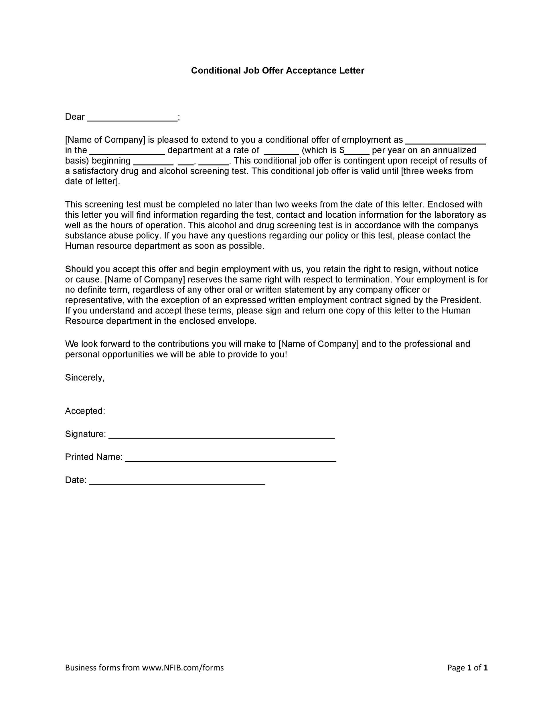 Acceptance Engagement Proposal Letter
