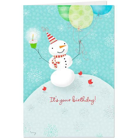Snowman With Party Hat Christmas Birthday Card   Greeting