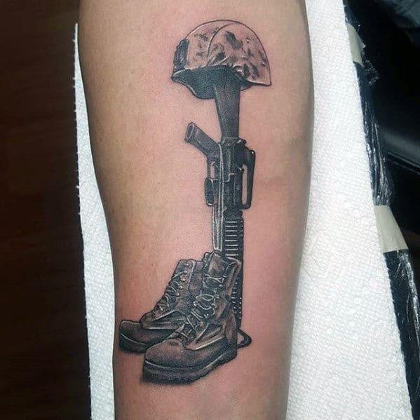 50 Fallen Soldier Tattoo Designs For Men Memorial Ideas