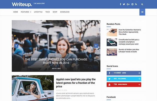 WriteUp - Blog, News & Magazine Blogger Template
