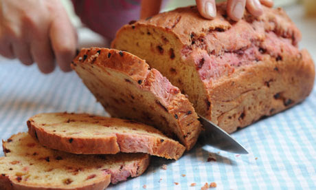 Hot pink beetroot and spelt flour bread