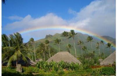 Moorea 3, rainbow over village