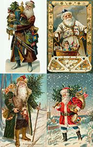 Santa in different colour outfits