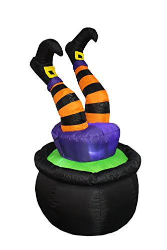 4 Foot Tall Halloween Inflatable Witch Legs in Pot Decoration