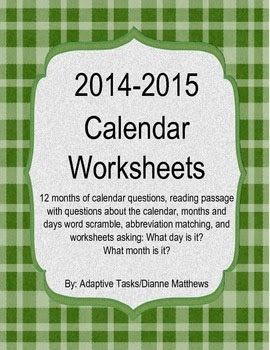 2014-2015 Calendar Worksheets