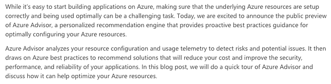 Azure Advisor Intro