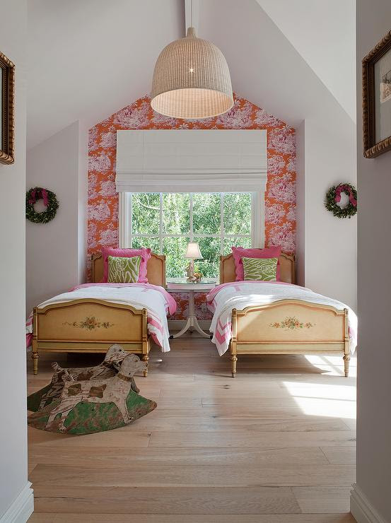 Wallpaper Accent Wall - Eclectic - girl's room - Benjamin Dhong