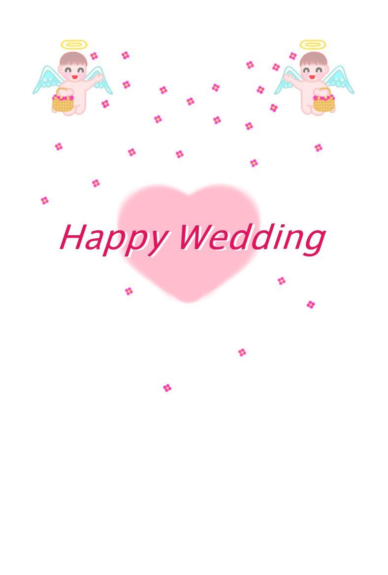 天使2結婚祝いhappy Weddingイラスト1お礼状挨拶状通年はがき