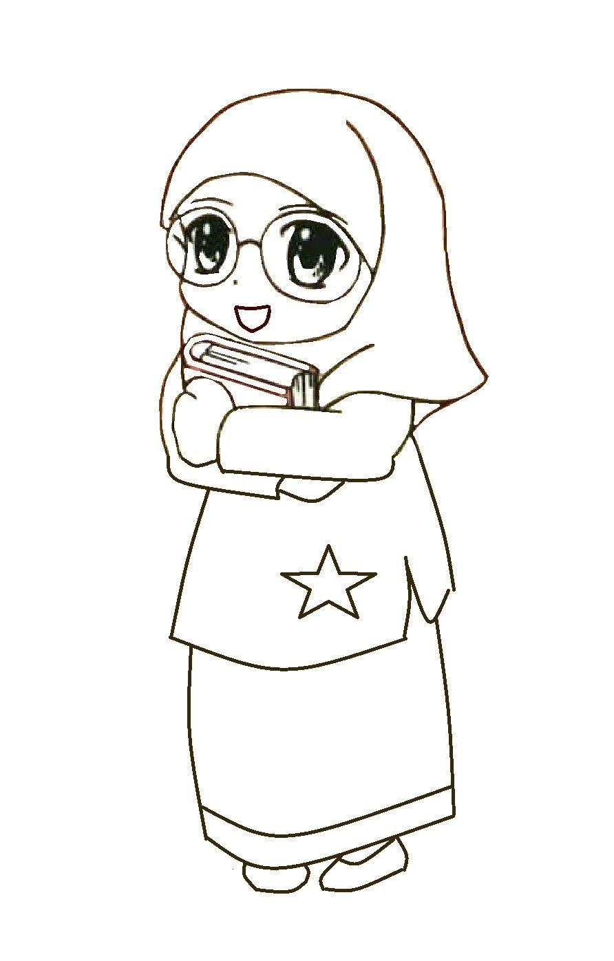 Gambar Kartun Muslimah Hitam Putih Kolek Gambar