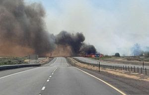 Fire and heavy smoke  Monday closed Interstate 90 near Vantage, Kittitas County. (Washington State Patrol)