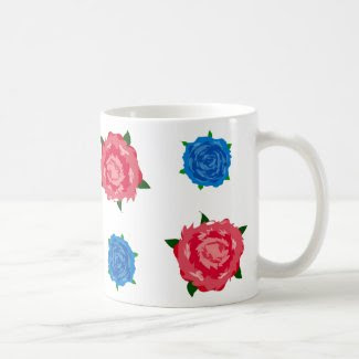 Blue and Pink Roses Pattern on Coffee Mug