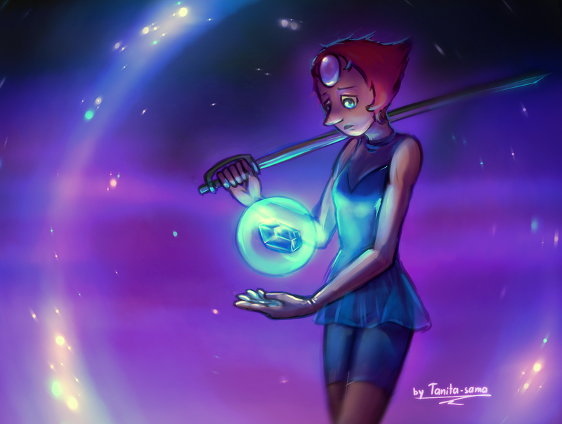Some sketchy SU thing. This could be Zikkurat battle. Pearl and her trophy. Reblog on Tumblr =>tanita-sama.tumblr.com/post/15…