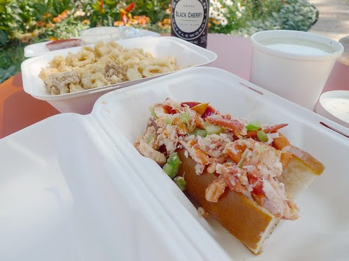 Clockwise From Bottom: Lobster Roll, Clam Chowder, and Fried Calamari