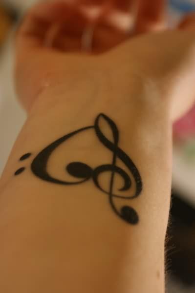Heart Music Tattoo On Wrist