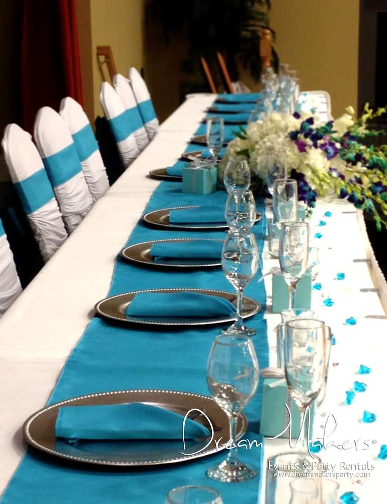 Turquoise Silver And White Wedding Decor