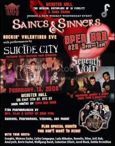SAINTS and SINNERS at Webster Hall in New York City.