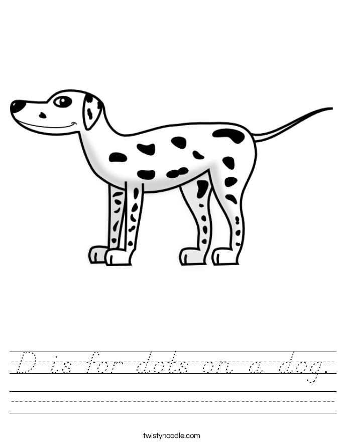 D is for dots on a dog Worksheet - D'Nealian - Twisty Noodle
