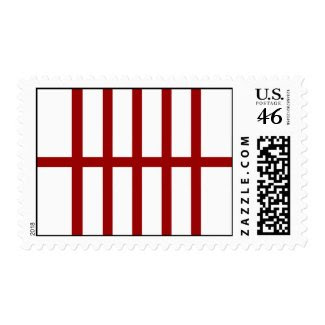 5 Bisected Red Lines Postage Stamp
