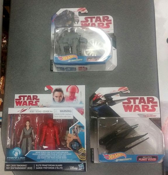 The three STAR WARS: THE LAST JEDI merchandise that I bought from Toys'R'Us for 'Force Friday II'...on September 1, 2017.