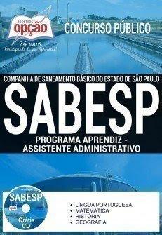 Apostila SABESP - Programa Aprendiz (Grátis CD) 2016 São Paulo.