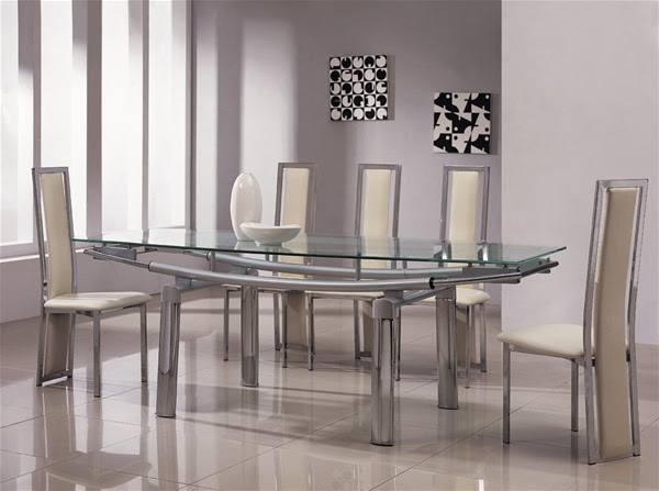 Delta Mega Extending Glass Chrome Dining Table And Chairs