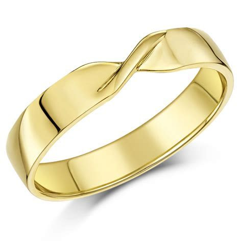 4mm 9ct Yellow Gold Crossover Wedding Ring Band   Yellow