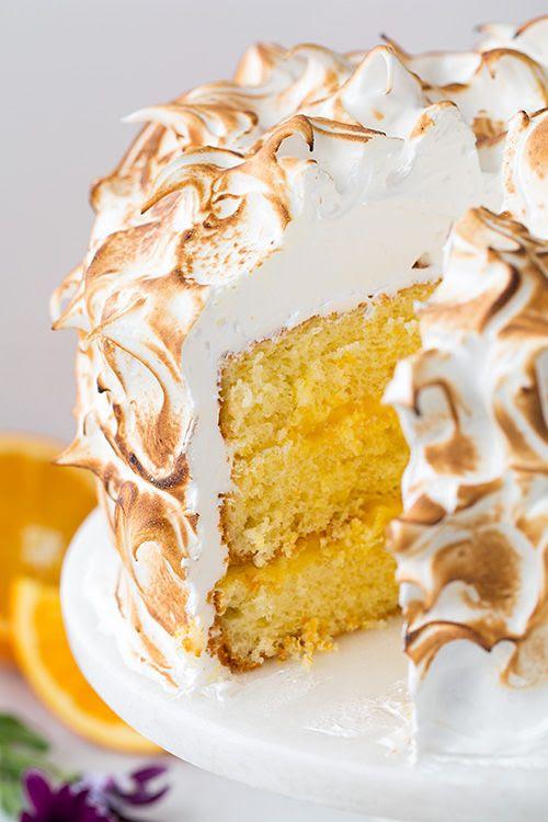 Orange Chiffon Cake with Orange Filling and Meringue