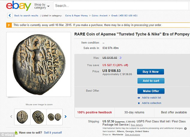 This coin, which came from the ancient city of Apamea in western Syria, sold for $135 on eBay - the equivalent of around £91