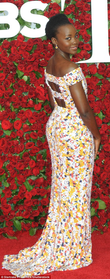 So pretty: Oscar winner Lupita Nyong'o was statuesque in a colourful sequinned gown for the 2016 Tony Awards on Sunday
