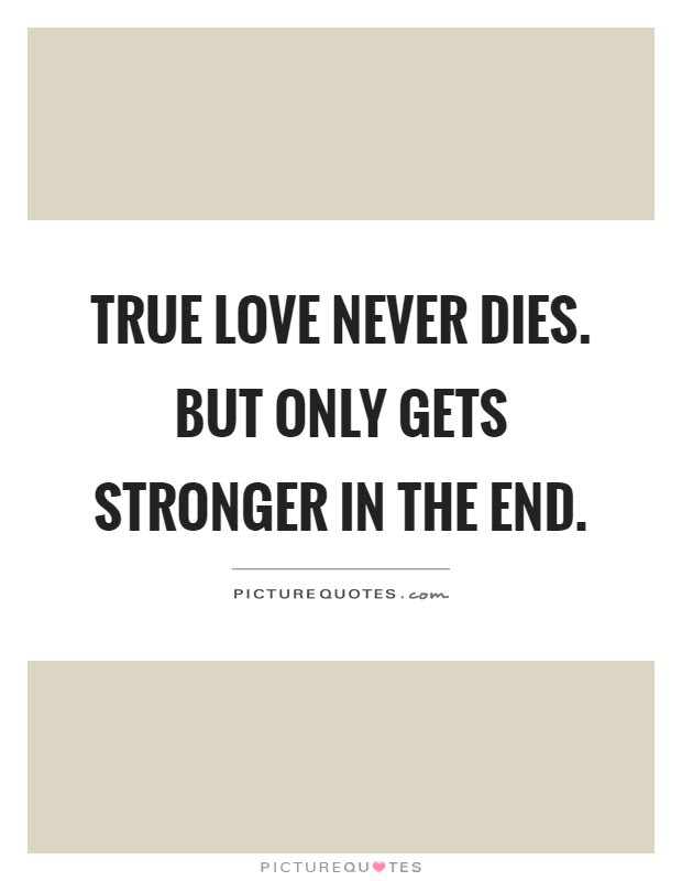 True Love Never Dies But Only Gets Stronger In The End Picture Quotes
