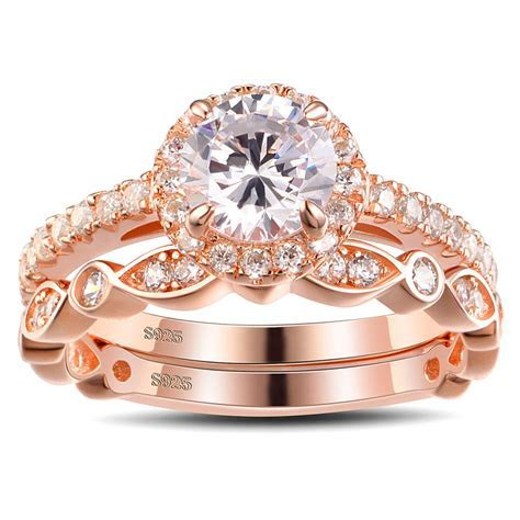 Tinnivi Rose Gold Color Round Cut White Sapphire Sterling