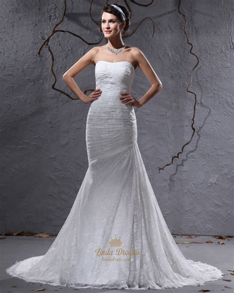 Ivory Lace Mermaid Strapless Wedding Dresses For Petite