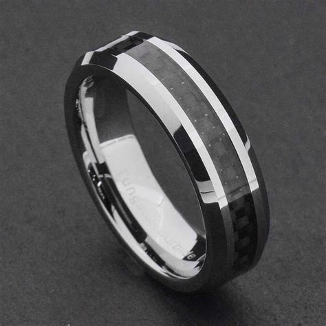 6mm Tungsten Carbide Black Carbon Fiber Women's Wedding