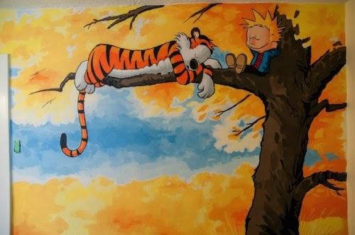Geek art gallery mural calvin and hobbes for Calvin and hobbes nursery mural