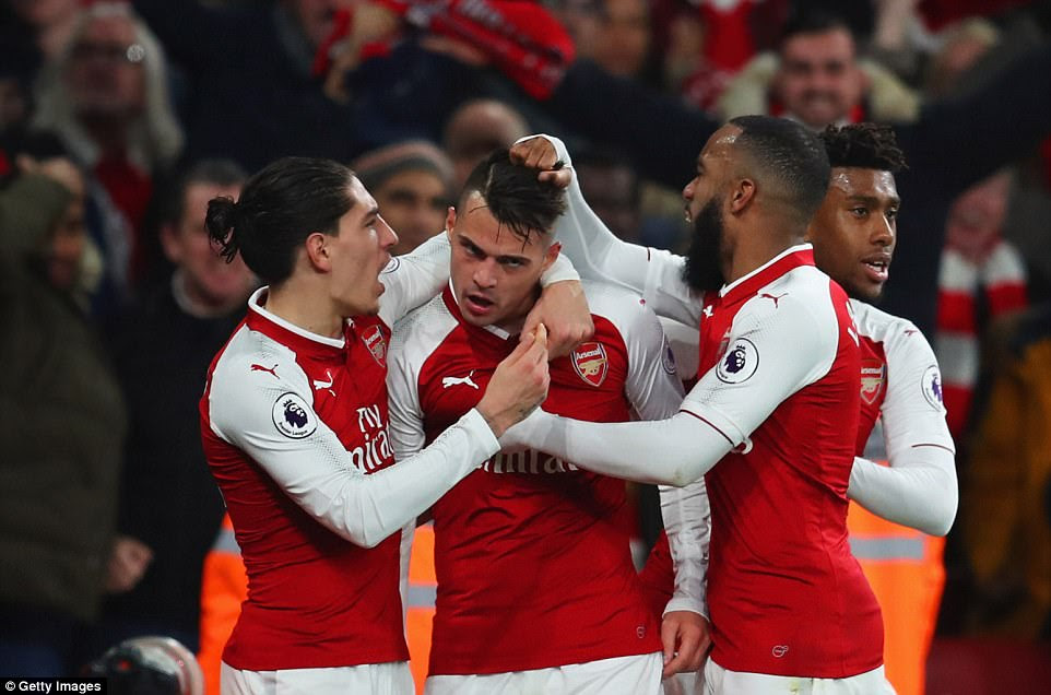 Granit Xhaka brought the game back on level terms two minutes later with a trademark thunderous long-range effort