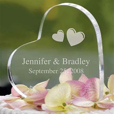 Personalized Acrylic Heart Cake Topper   Wedding Collectibles