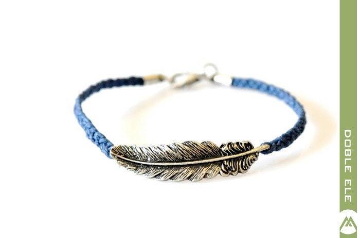 Feather Braided Bracelet - Blue - DobleEle
