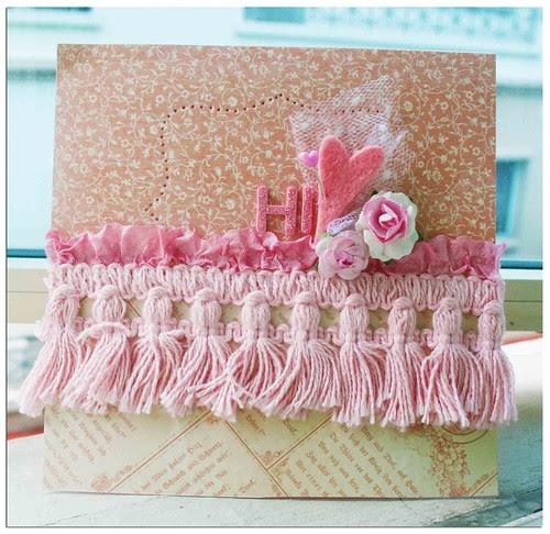 A pink Hi card