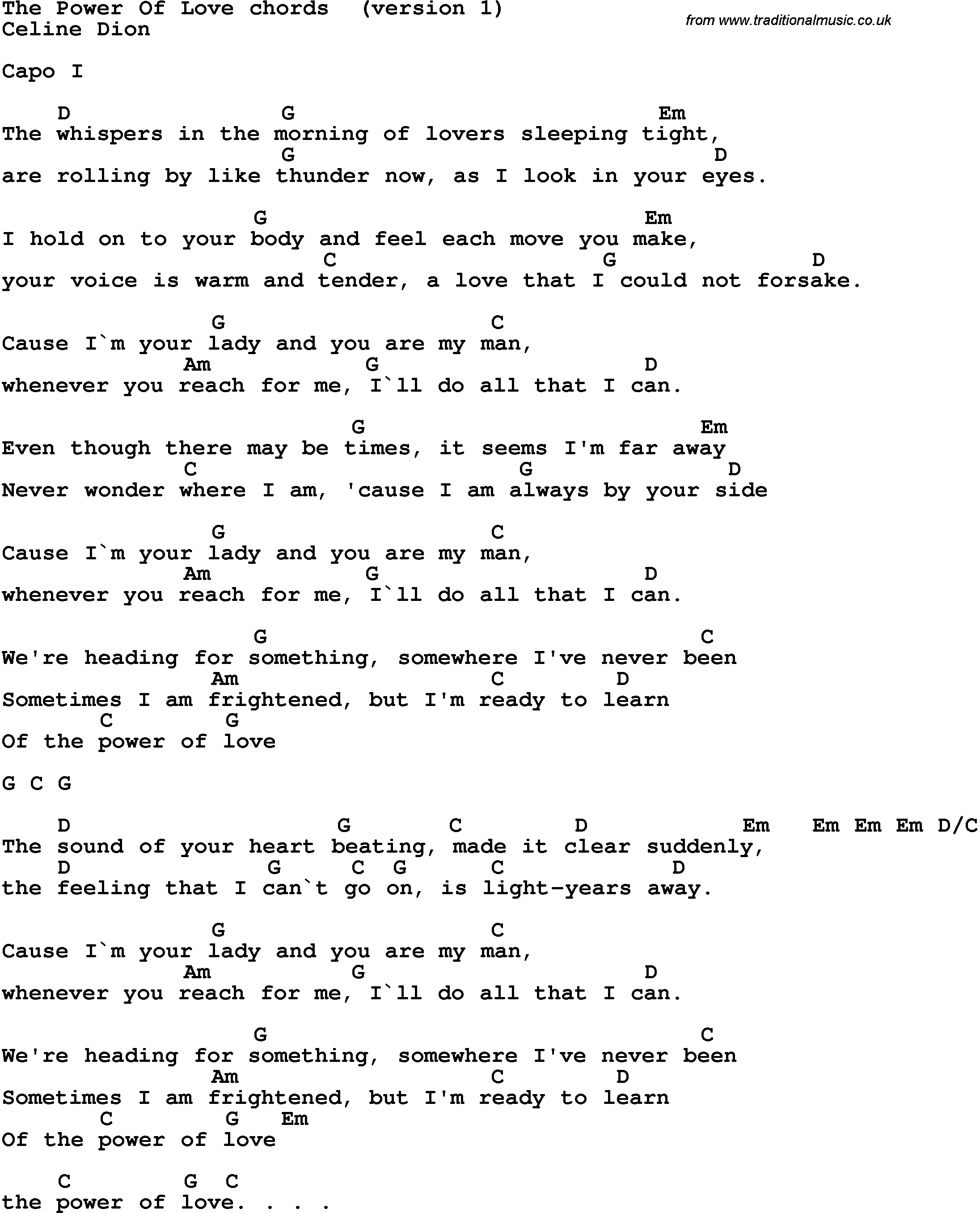 Lirik Lagu Power of Love